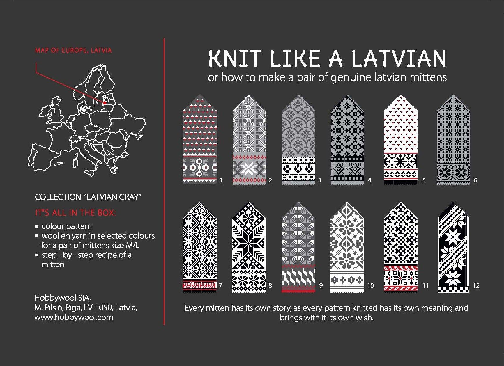 "With this kit You will learn how to make a pair of genuine latvian mittens. In ""Knit Like a Latvian"" box You will find: - colour pattern - woollen yarn in selected colours for a pair of mittens size M/L - step - by – step recipe of a mitten https://www.etsy.com/listing/126774128/the-latvian-traditional-mitten-pattern?ref=shop_home_active"