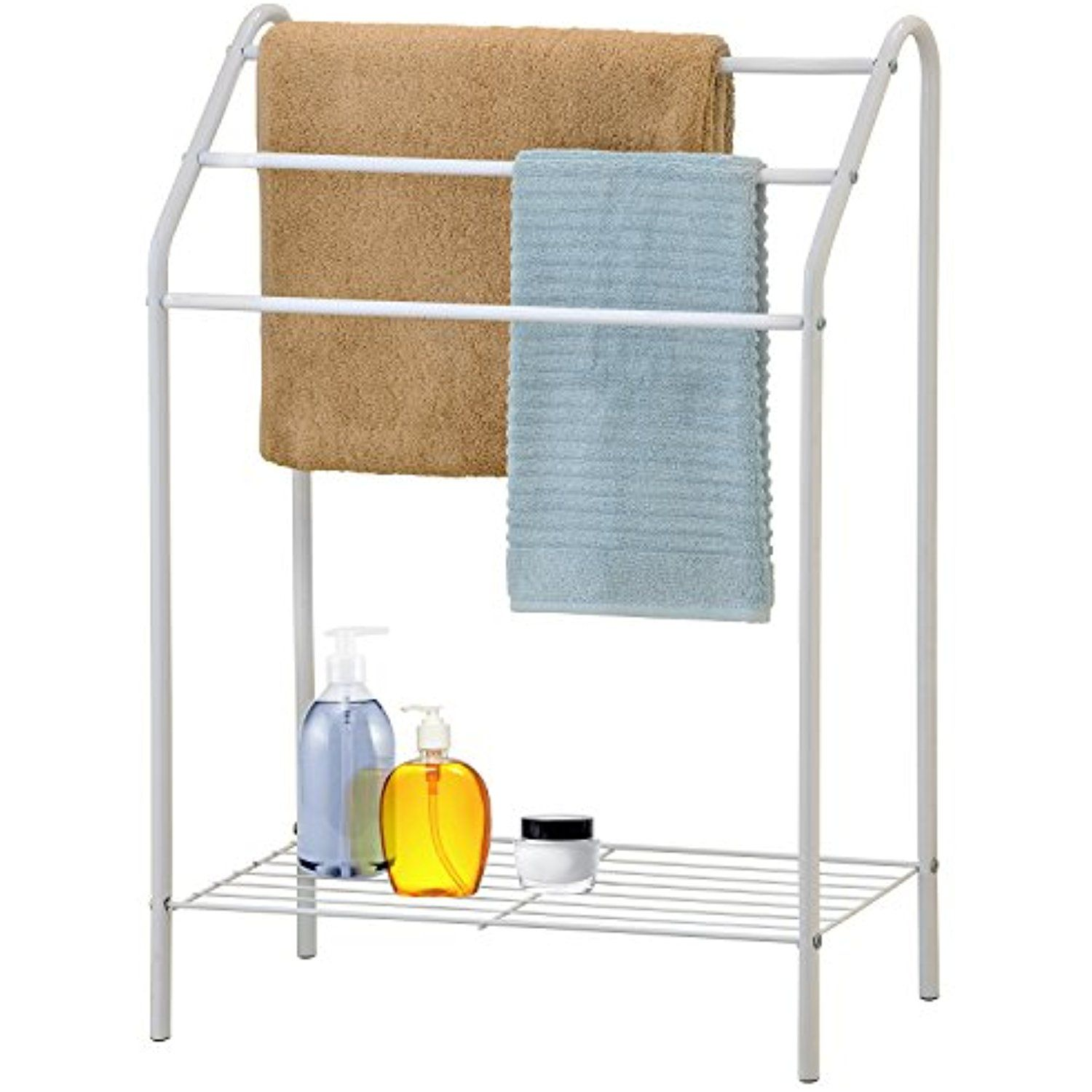 Freestanding 3 Tier Metal Towel Rack, Chrome Bathroom Towel Bar ...