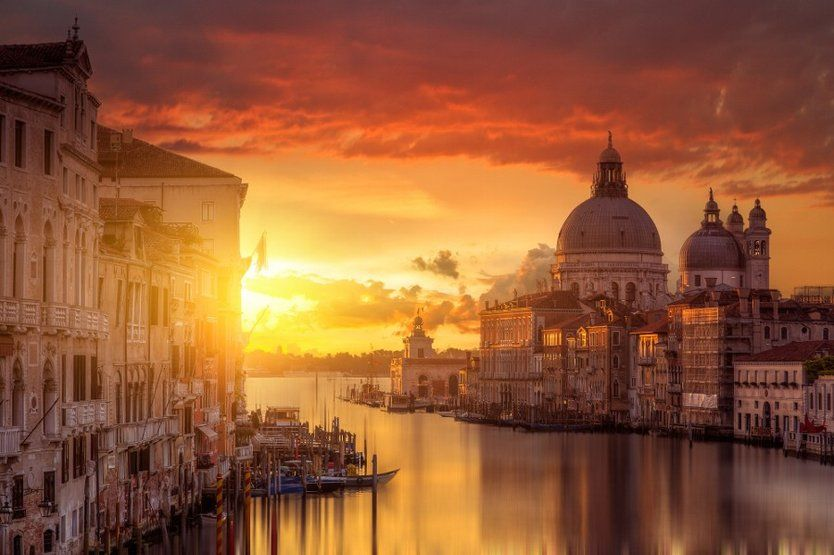 Red morning light, Venice, Italy