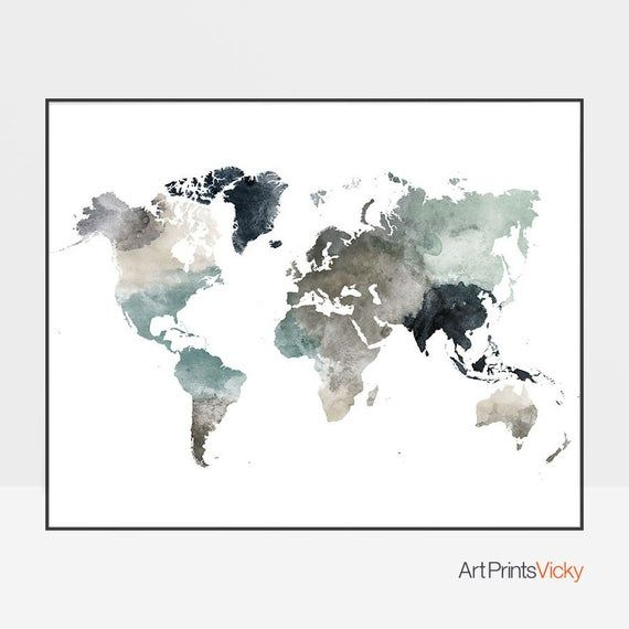 Personalized world map, World map poster, Map art, Large world map, World map print, Travel map, watercolor map, ArtPrintsVicky #worldmapmural