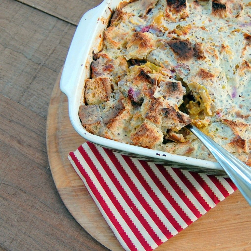 Buttermilk Bread Pudding With Roasted Cranberries And Acorn Squash Recipe Buttermilk Bread Bread Pudding Recipes