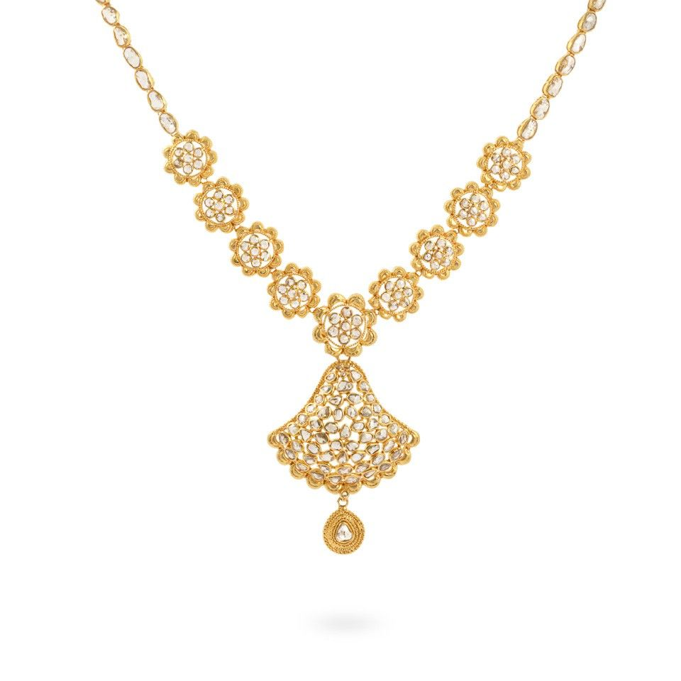 Diya 22ct Gold Uncut Polki Diamond Necklace | Our Flat Cut and Rose ...