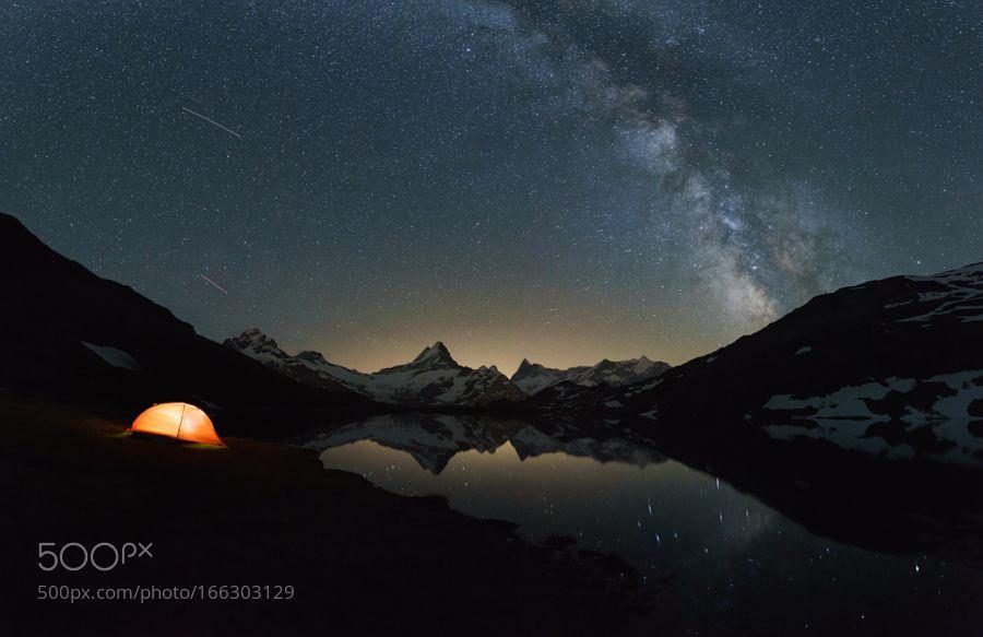Milchstrasse am Bergsee bei Grindelwald mit Zelt by stephanwiesner #landscape #travel