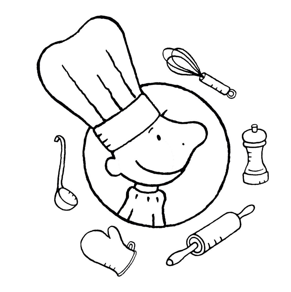 kleurplaat kok restaurant eten koken voor kinderen