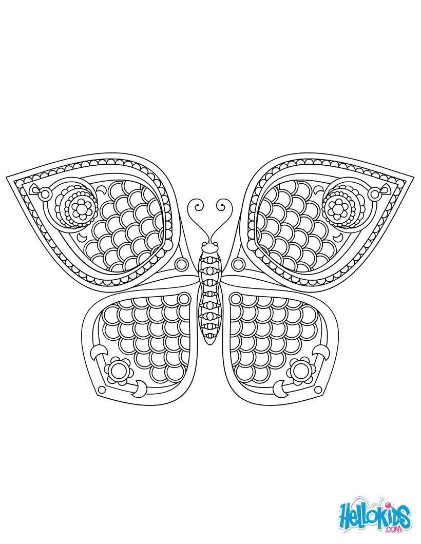 Un Magnifique Papillon Mandala Simple Et Original Coloring Pages