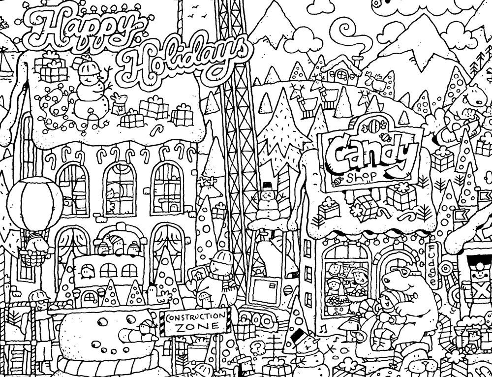 Happy holidays coloring page by davegarbotprints on etsy