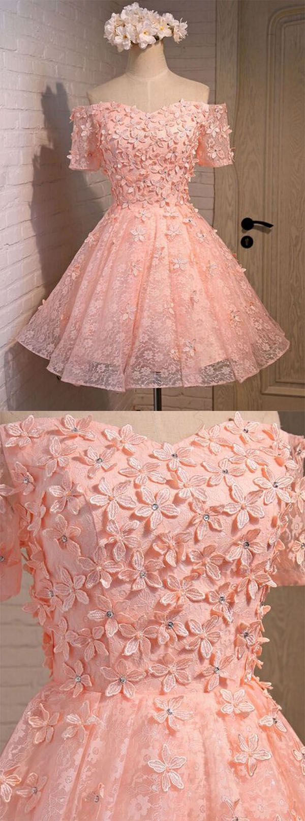 Aline offtheshoulder short pink lace homecoming dress with