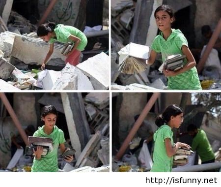 Palestinian girl looking for her books under the ruins isfunny.net