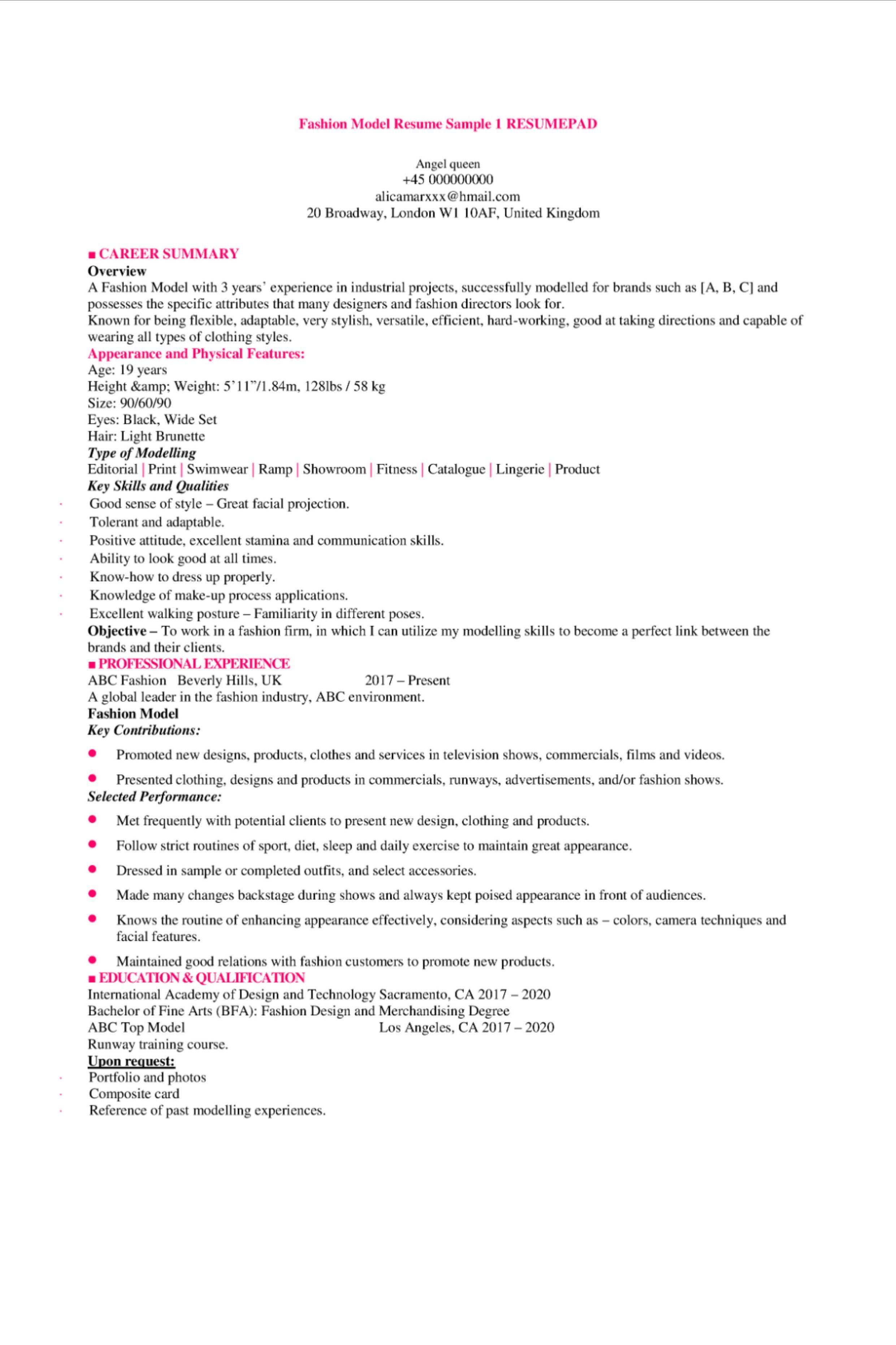 Model Resume Sample 1 Resumepad Model Resumes Fashion Model Resume Sample 1 Resumepad Download A Fairly Minimalist Resume For Models