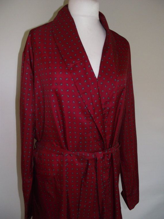 Vintage mens robe dressing gown by Noto in Faux silk deep red ...