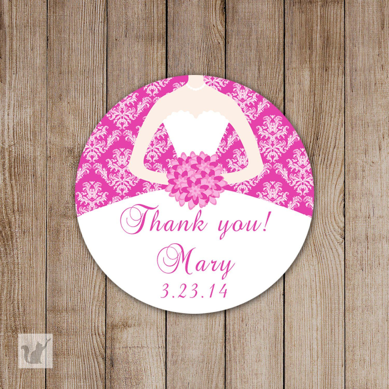 Fuchsia Bridal Shower Thank You Tag Gift Favor Label Sticker