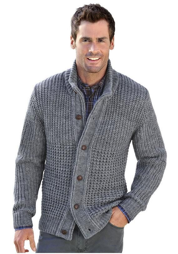 Mens Hand Knitted Wool Cardigan 64a Knit Jacket Men