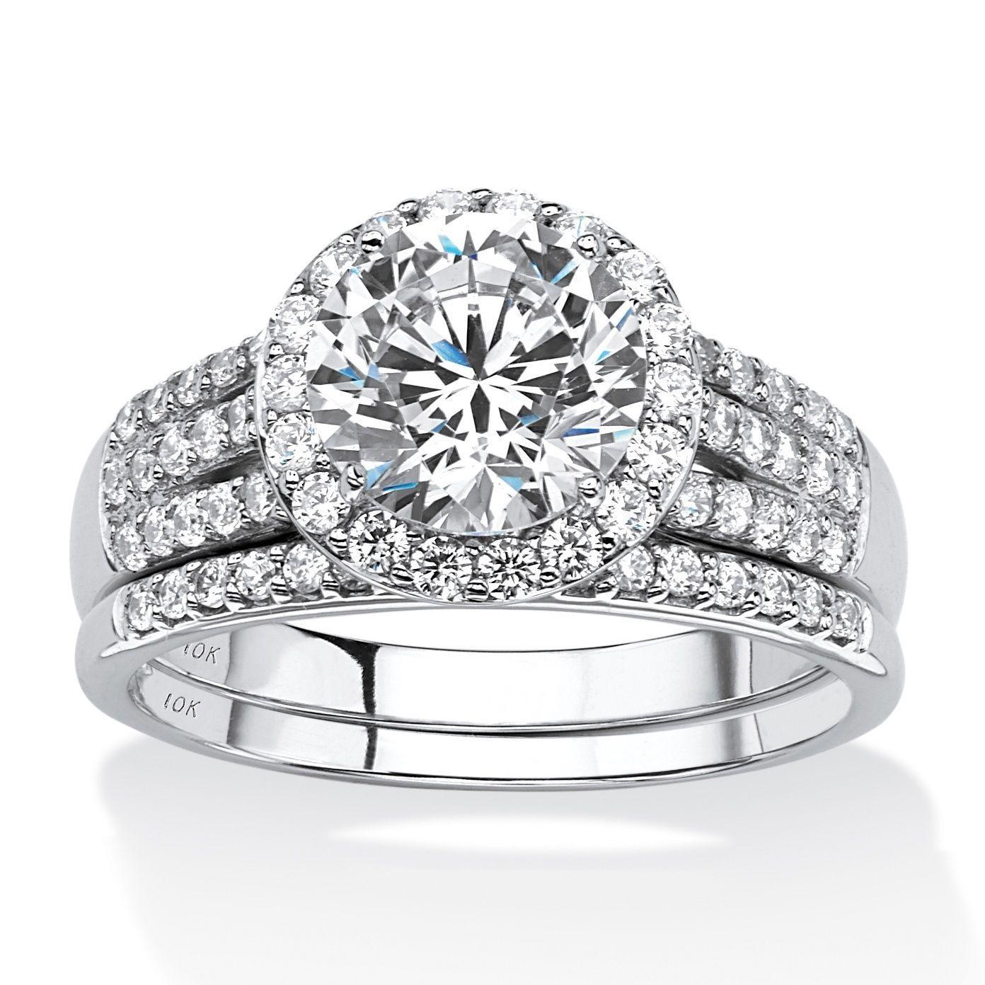Round cubic zirconia halo bridal set 10k white gold jewelry
