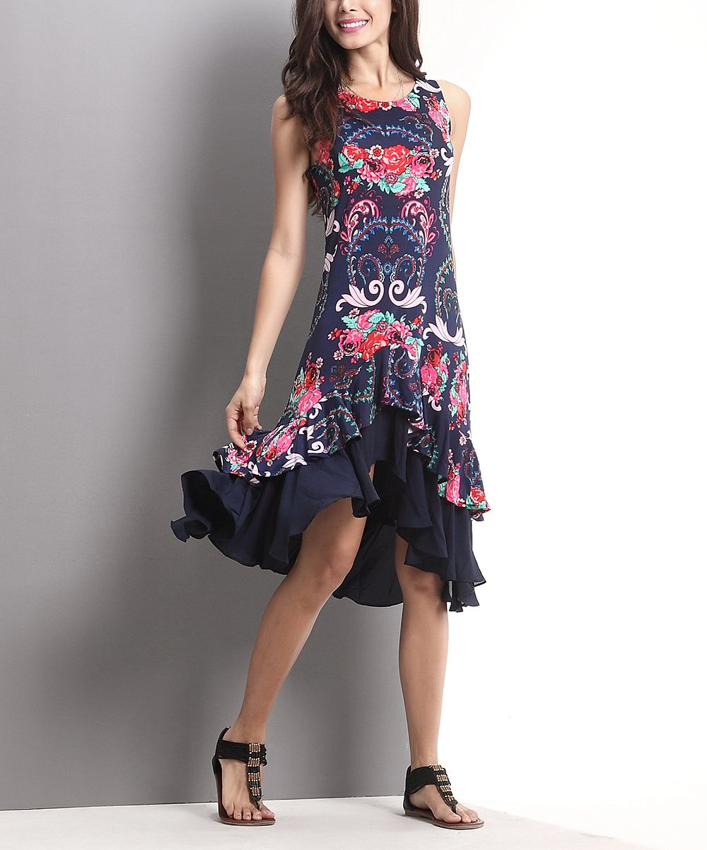 Reborn collection navy floral sleeveless hilow ruffle dress