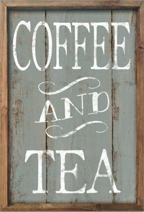 Coffee and tea wooden sign framed out in wood approx 13 for Tea and coffee wall art