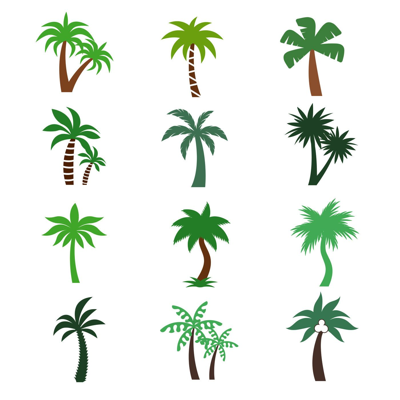 Color Palm Trees Vector Silhouettes By Microvector Thehungryjpeg