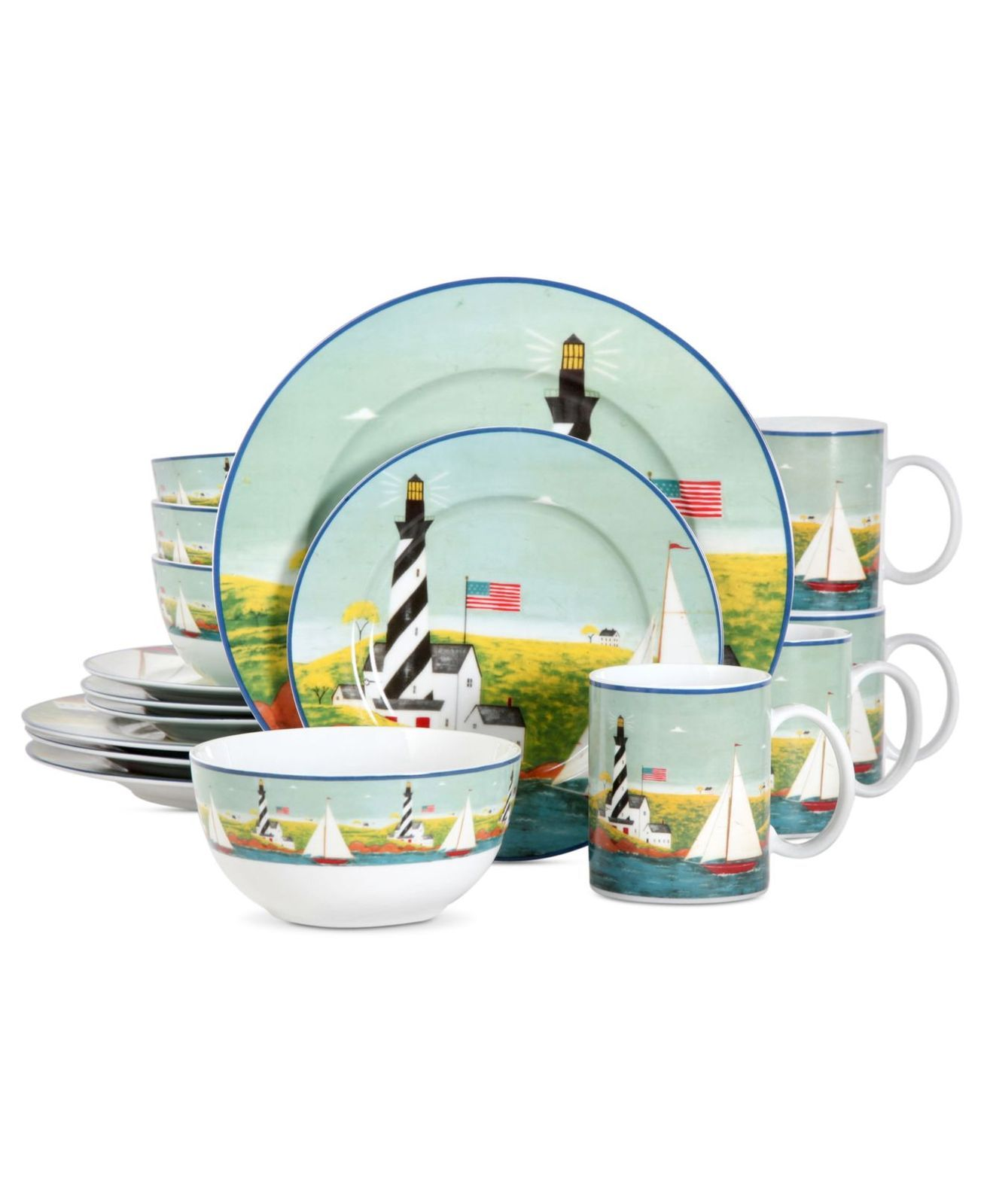 Patriotic Coastal Lighthouse Dinnerware Set Porcelain 16 Pieces
