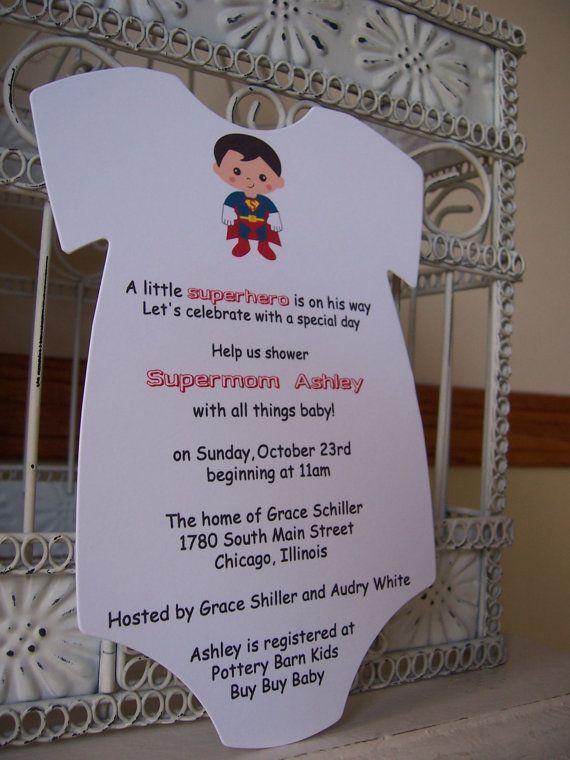 baby shower invitation custom order for marybeth superman baby shower