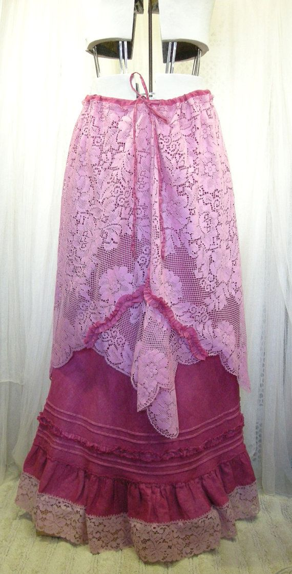 Raspberry Pink Hand Dyed Long Cotton Skirt with by rosiemoonbeams. , via Etsy.