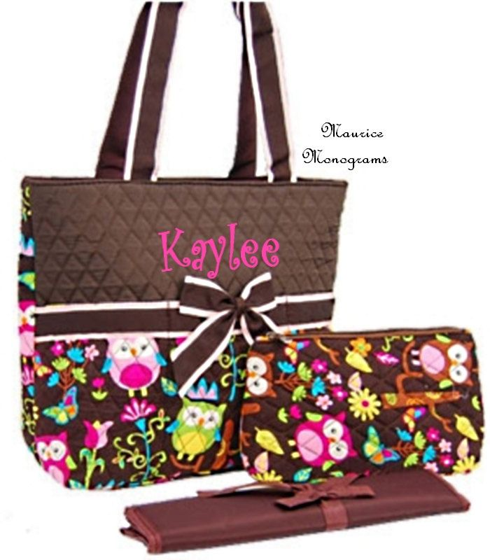 Personalized Owl Print Diaper Bag Set Monogrammed Free Brown And 35 00