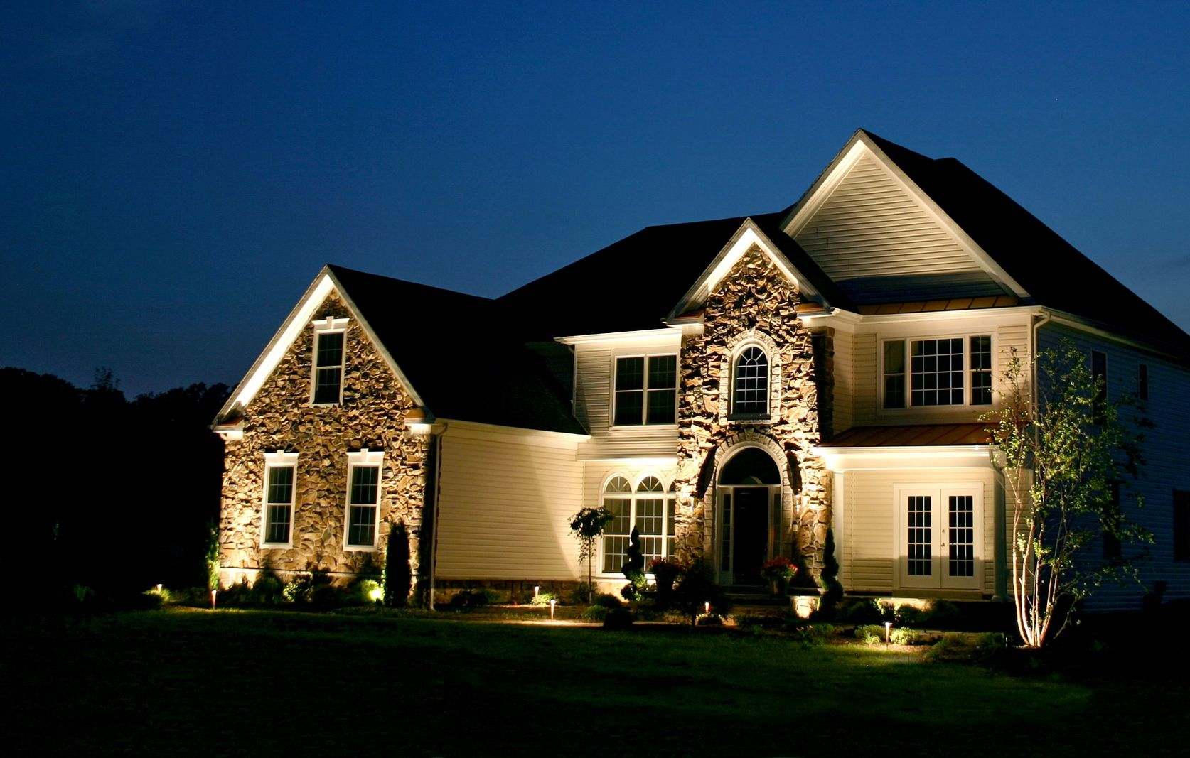 Outdoor Accent Lighting! If you need some landscaping done around ... for Outside House Lighting Ideas  45ifm