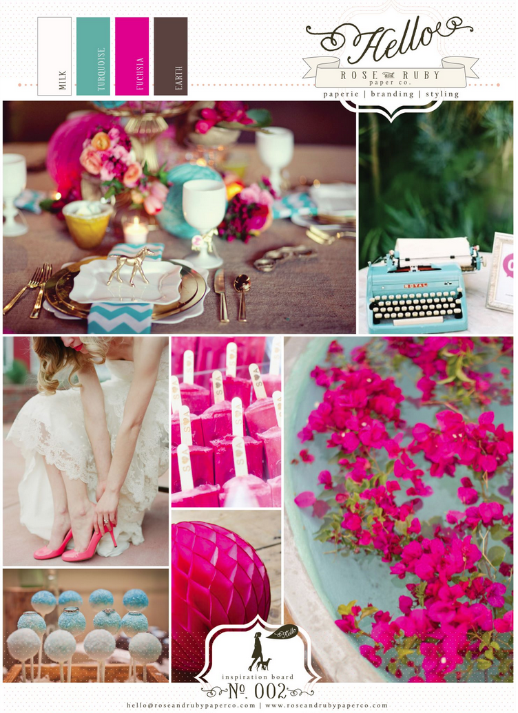 Wedding Inspiration Milk White Turquoise Fuchsia Earth