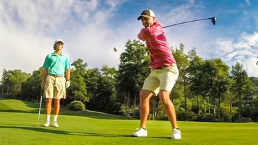 The Bryan Bros, George and Wesley Bryan, have developed their own method of driving golf balls from the tee box.
