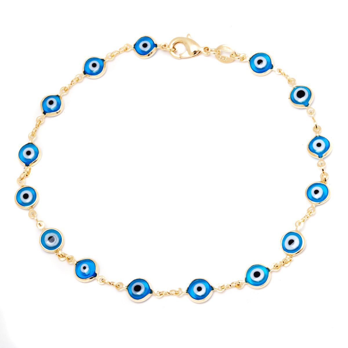 18k Goldplated Aqua Crystal Evil Eye Anklet (Aquamarine Evil Eye Anklet), Women's, Size: Over 9 Inches, Yellow