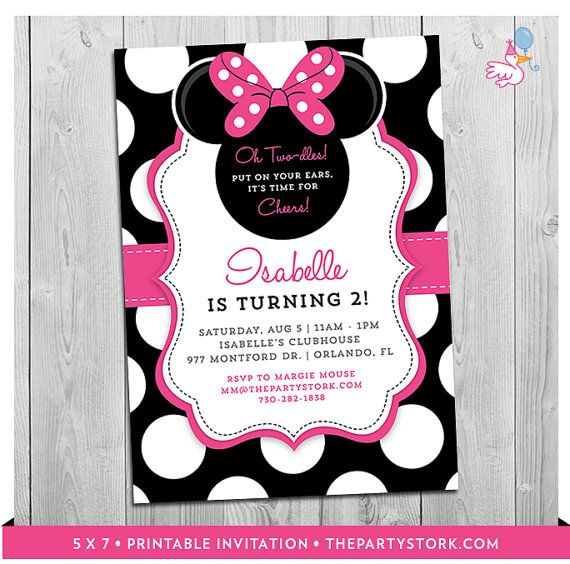 Minnie Mouse 2nd Birthday Invitations Printable Girls