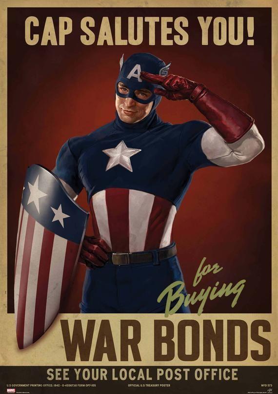 Captain America Cap salutes you war bonds superhero propaganda poster