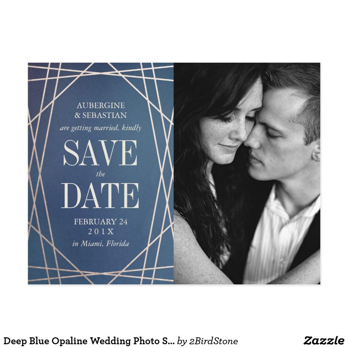 Deep Blue Opaline Wedding Photo Save the Date Gold Postcard ...
