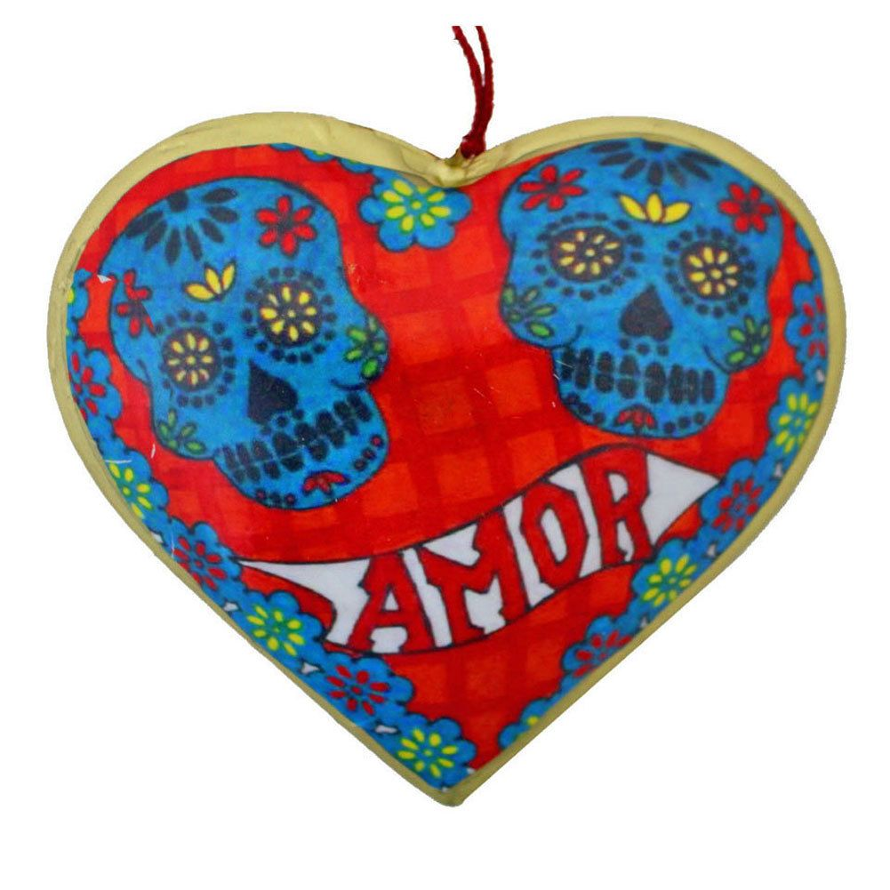 Metal heart ornaments - Amor Sugar Skull Day Of The Dead Heart Christmas Holiday Ornament