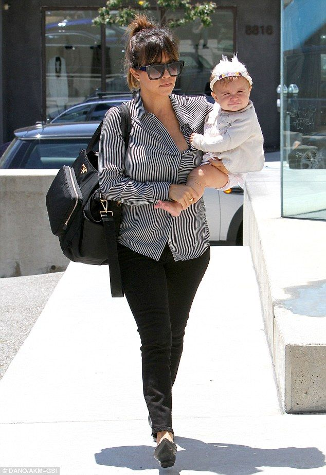 c1128c781c63 Accessories  Kourtney Kardashian carried a large Prada diaper bag and  strolled down the sidewalk in chic pointy flats with her daughter Penelope  Disick