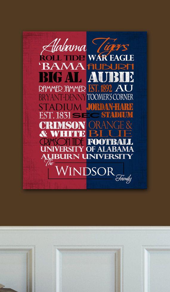 University Of Alabama Crimson Tide Auburn By Sportingstandouts 60 00 House Divided University Of Alabama House Divided Auburn University