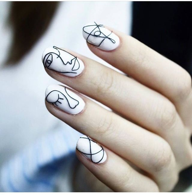 Can Never Get Enough Of Abstract Faces Shattered Glass Nails Nail Art Instagram Glass Nails
