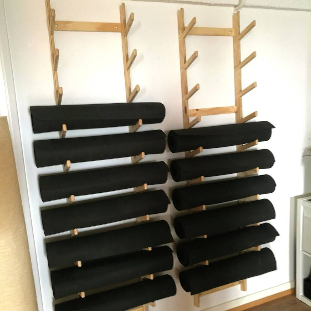 Modular Classroom Yoga : Plywood yoga mat storage at the kali collective