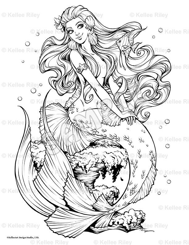 Fishy Friends Adult Coloring Page Mermaid Coloring Pages