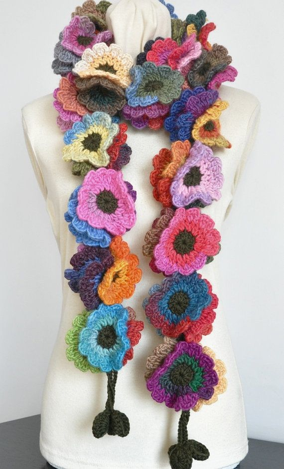 Floral val Long Multicolor gehaakte bloemen lange door jennysunny