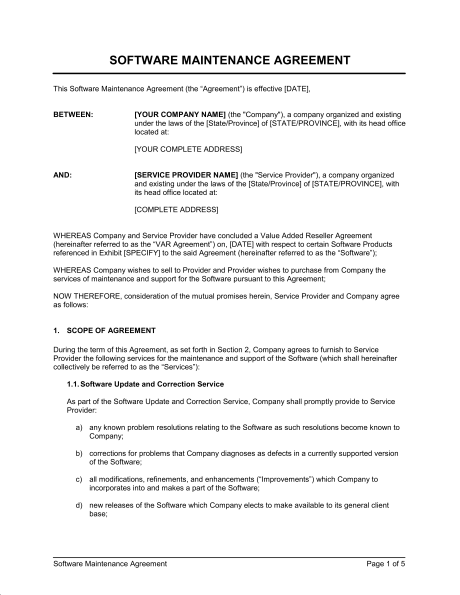 Software Maintenance Agreement Var  Template  Sample Form