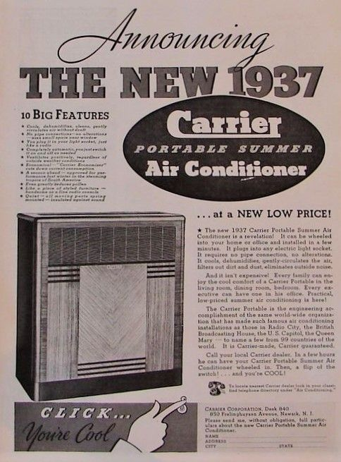 Vintage Carrier Ad 1937 Portable Summer Ac Furnace Repair Hvac