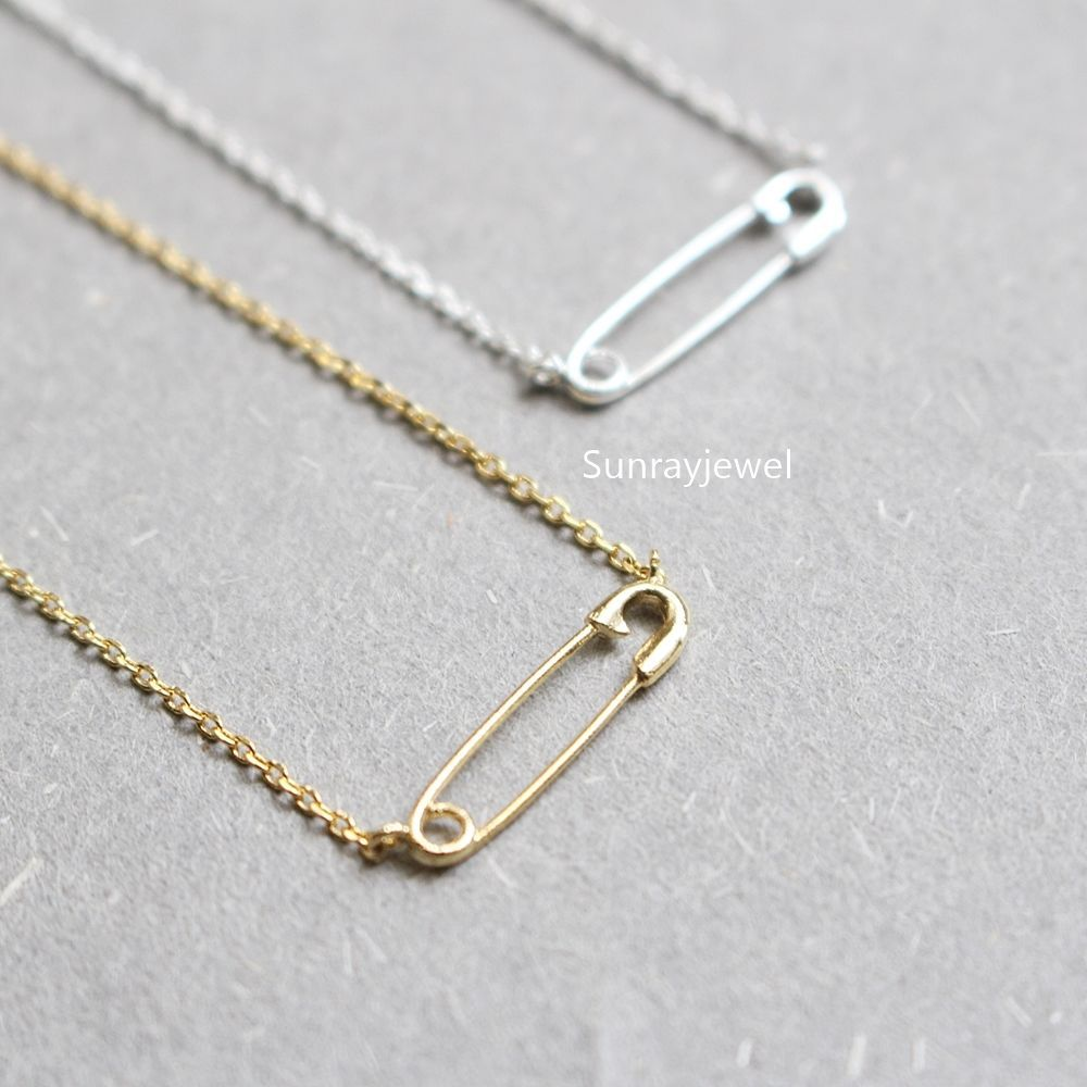 Safety Pin Necklace, Simple necklace, Minimal necklace | Simple ...
