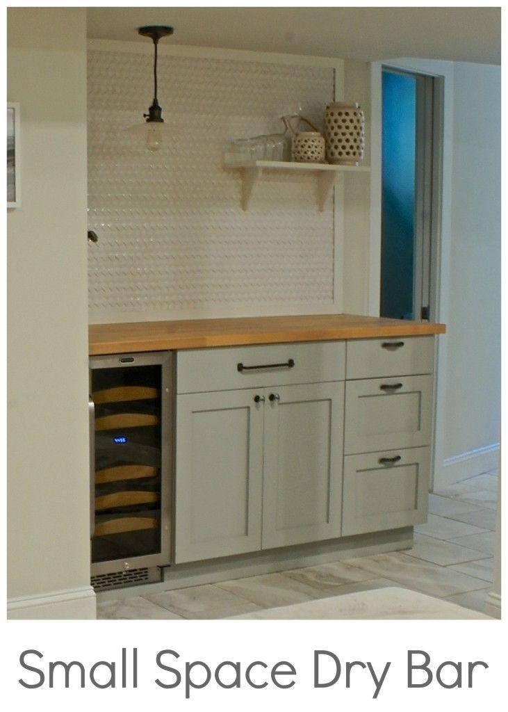 Small Space Basement Dry Bar Using Semihandmade Doors On Ikea