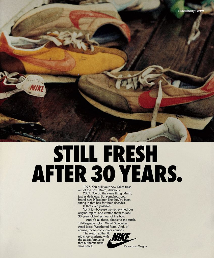 Nike Vintage Running Advertising Advertising For The Nike Vintage Campaign Was Designed Like The Footwear To Appear As Thou Vintage Nike Nike Ad Nike Poster