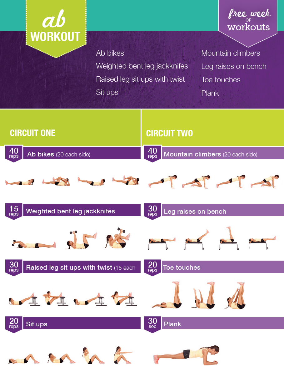 #BBG #Free #probetraining fitnessstudio #Workouts Kayla Itsines Free Ab Workout - get the perfect ab...