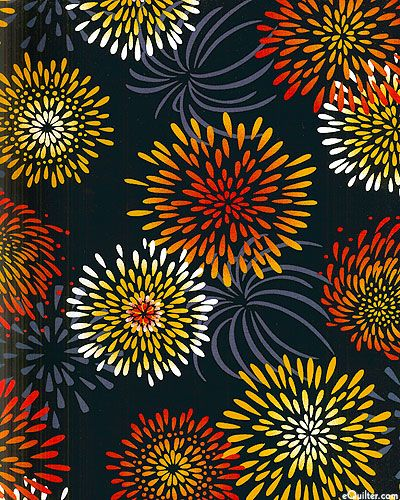 """vibrant mums explode like fireworks over a solid ground as shadows of graceful flowers float in the background. Choose from this collection of richly colored Asian-inspired prints on luxurious, crisp cotton perfect for summer sewing or making your very own yukata kimono. Larger bursts are about 5"""", from the 'Yukata' collection by Kona Bay Fabrics."""