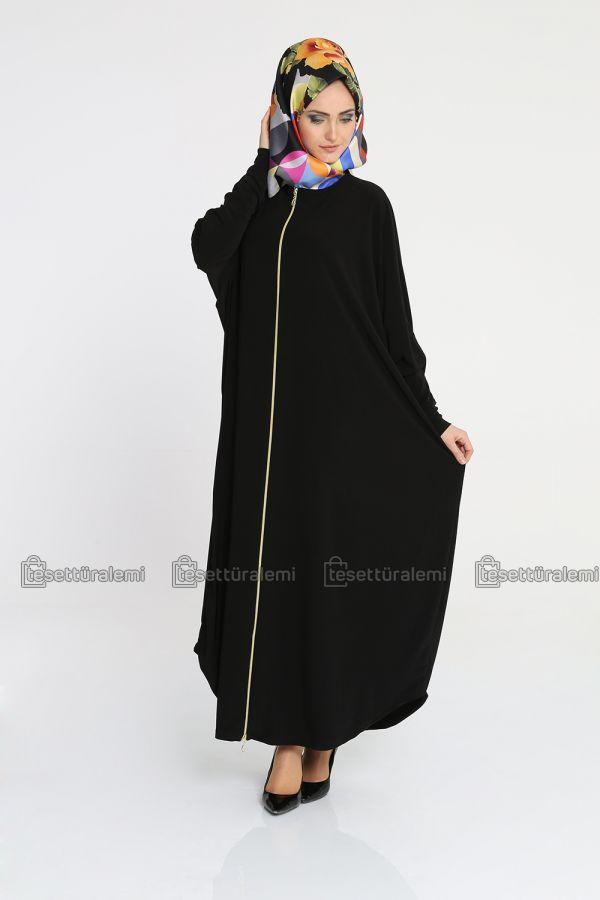 142e564814e4e Yarasa Kol Fermuarlı Ferace - Siyah   Yarasa Kol Ferace Modelleri ...