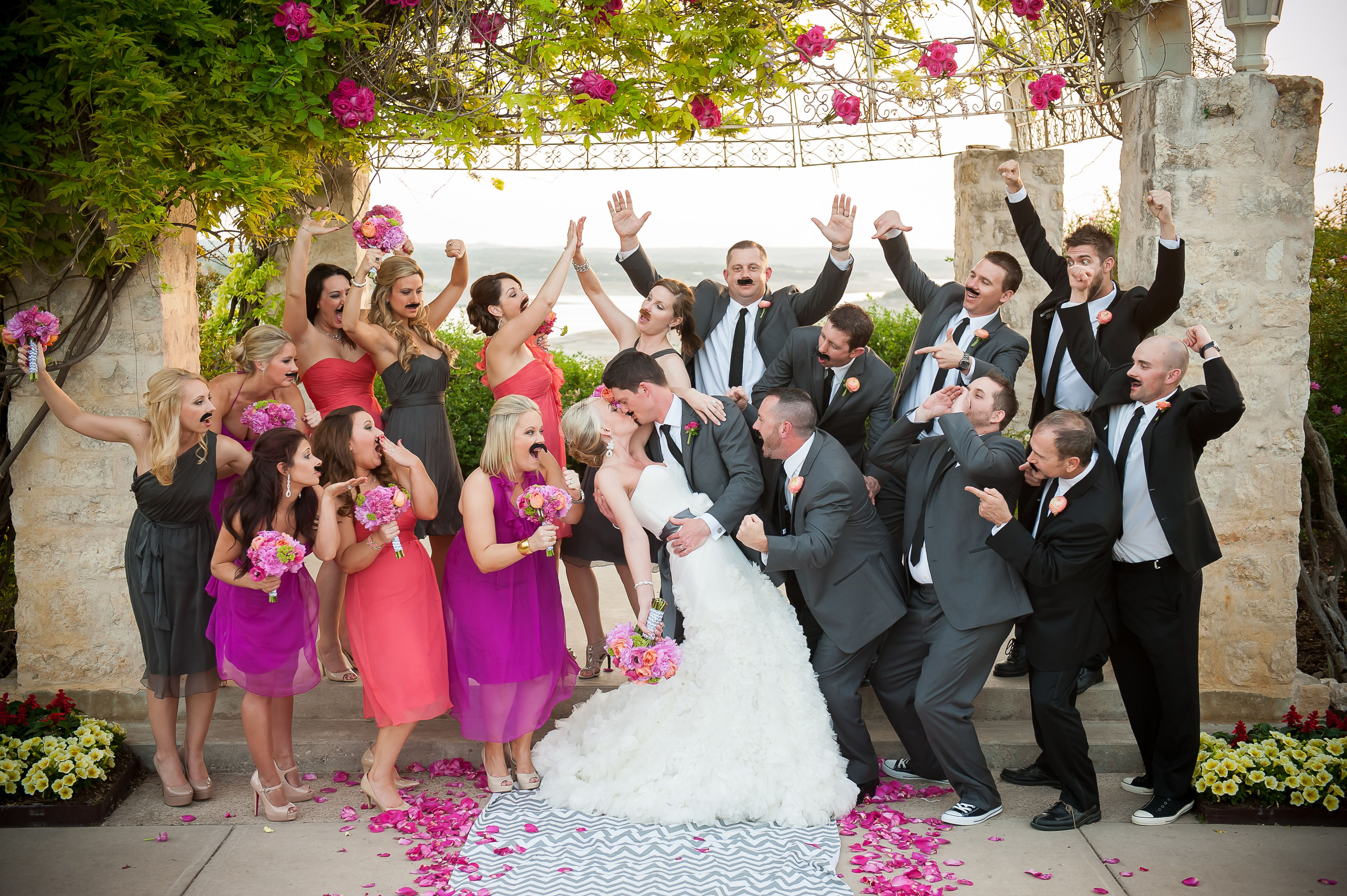 Wedding party photo mustaches grey pink and fuchsia wedding party photo mustaches grey pink and fuchsia bridesmaids dresses pink petals ombrellifo Images