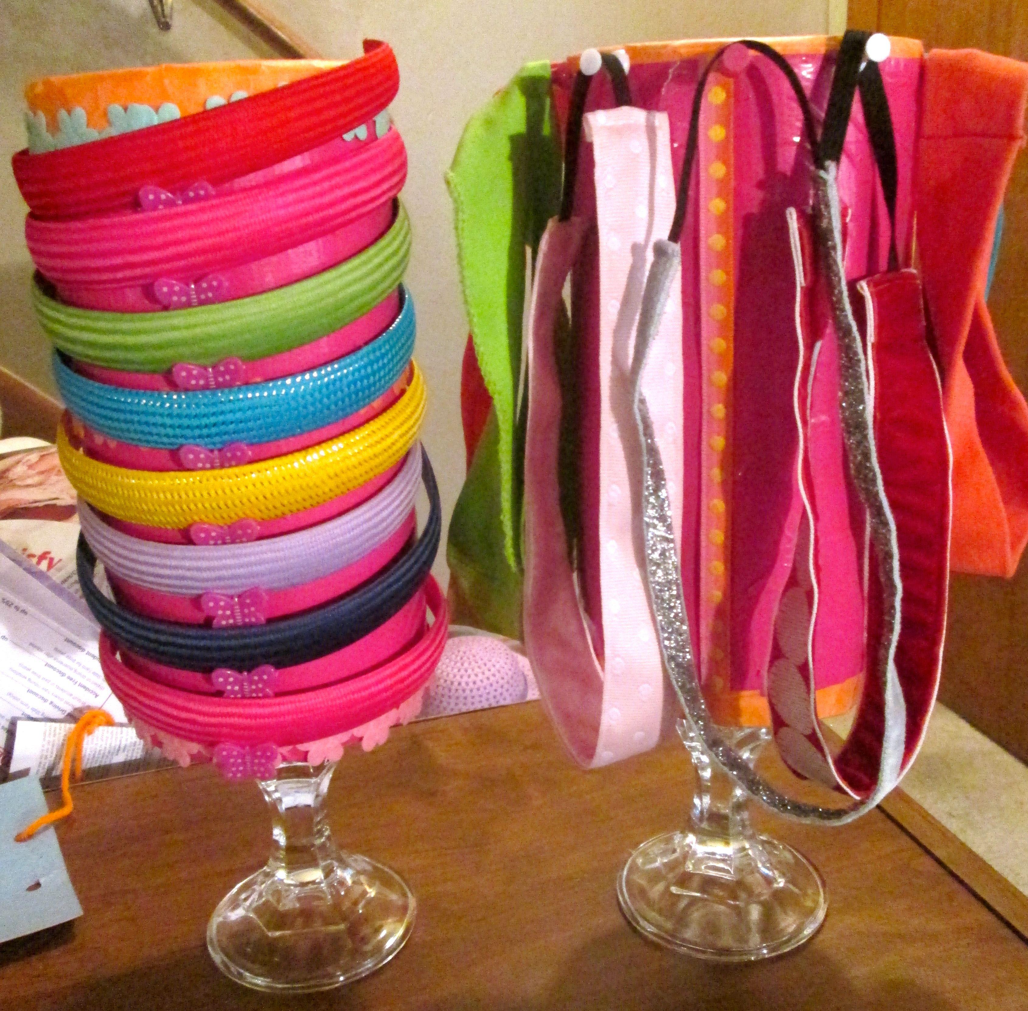 Handmade headband holders. Made of recycled Clorox Wipes