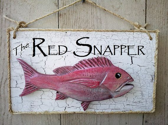Fish Sign Fish Market Red Snapper Coastal By