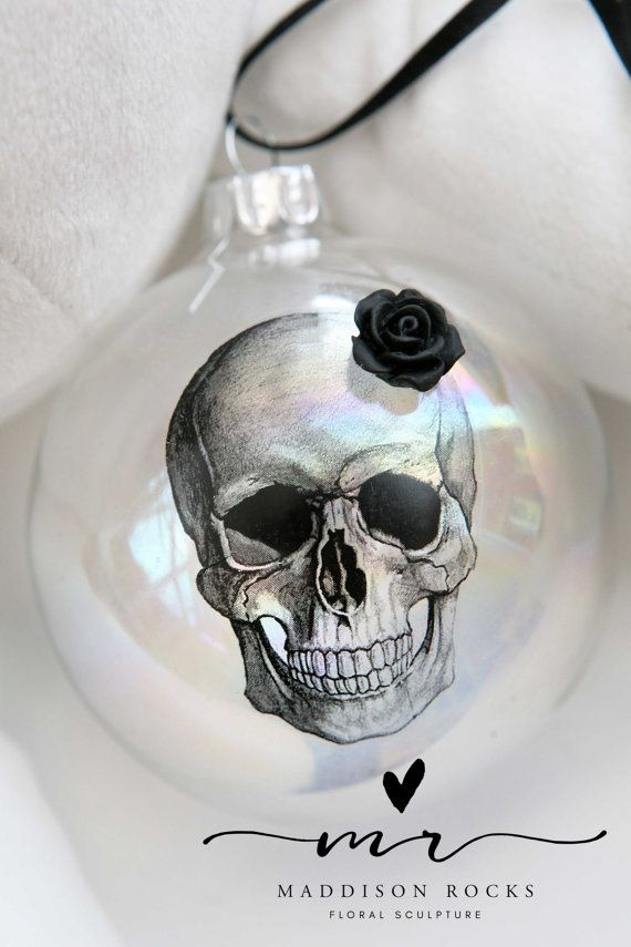 Boule Noel Tete De Mort macabre gothic Victorian style skull rose hanging by MaddisonRocks